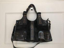 Francesco Biasia Handtasche schwarz, Fell / Lackleder