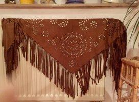 Bufanda de flecos coñac tejido mezclado
