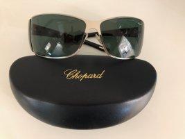 Französische Edel-Sonnenbrille von Chopard, schwarz/ silber, mit Etui