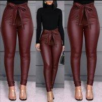 Frauen Leggings PU Leder Hohe Taille Hosen Stretchy