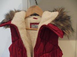 Chaleco con capucha rojo oscuro-rojo neón