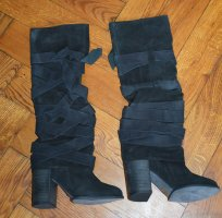 FREE PEOPLE Black Suede Leather Wrap Paradiso Boots Stiefel Ausverkauft !! $428