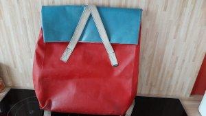 Freitag Sac postier rouge brique-bleu acier