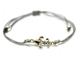 Friendship Bracelet silver-colored-light grey textile fiber