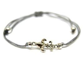Bracelet brésilien argenté-gris clair fibre textile