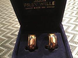 Freywille Boucles d'oreille en or crème-brun or