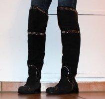 Friis & Company Kniehoge laarzen zwart-zilver Leer