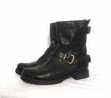 Frye - Schwarze Veronica Zip Kurz Motorrad Leder Schuhe Boots Stiefel