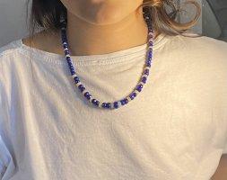 Zilveren ketting donkerblauw-blauw