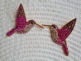 """funkelnde Ohrringe """"rosa Kolibris"""" Vögelchen Birds"""