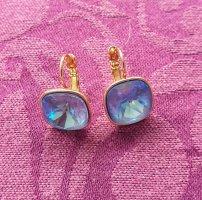 Funkelnde ungetragene Ohrhänger mit blauem Stein