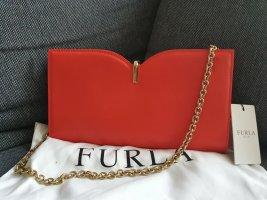 Furla Ribbon Pochette Clutch Tasche Leder rot  gold Schultertasche Handtasche
