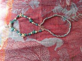 Fußkettchen -türkis-weiß-silbernen Perlen und Seesternen - neu!
