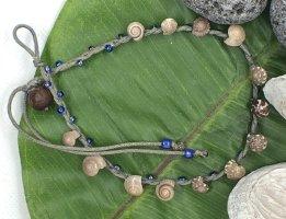 Fußkette 13 Mini Muscheln blaue Mini Perlen Länge 32 cm