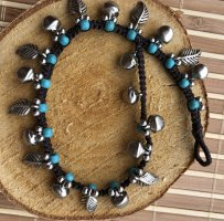 Handmade Anklet turquoise-silver-colored cotton