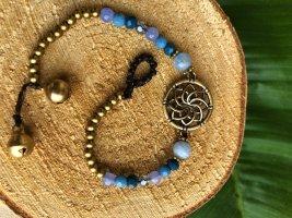 Fußkette Anhänger Lotusblüte Perlen hellblau mix