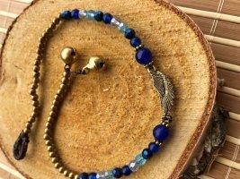 Fußkette Flügel Engel Perlen blau
