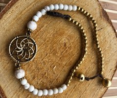 Handmade Anklet natural white-gold-colored cotton