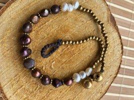 Fußkette Perlen braun und weiß