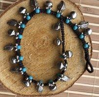 Fußkette silberfarbene Blätter Glöckchen türkise Perlen