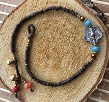 Fußkette silberfarbene Blüte 1,5 cm dunkelbraune Mini Perlen Mureno Glas Perlen 27 cm