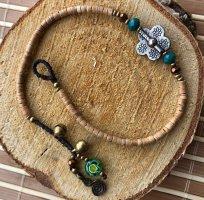 Fußkette silberfarbene Blüte 1,5 cm hellbraune Mini Perlen Mureno Glasperle 27 cm