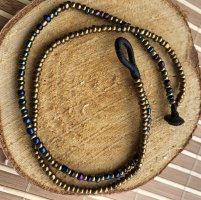 Fußkette Zweifach Strang messingfarben / blauschimmernde Miniperlen Länge 26 cm