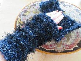 handmade unikat Jambière noir-bleu foncé tissu mixte