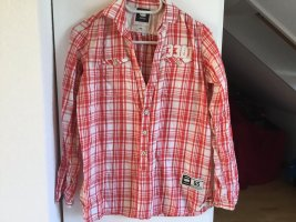 Gstar Geruite blouse wit-rood