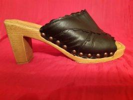 Gabor Damen Leder Pantolette Gr.38.5, Blockabsatz 7.5cm,schwarz