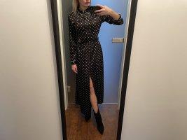 """Ganni Maxi-Kleid Schwarz Weiß """"Dufort"""" Polka Dot Seide 38 Seidenkleid mit Punkten"""
