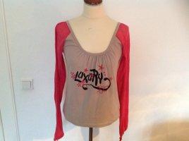 Garcia Shirt  Blusenshirt Langarm beige pink Gr. M Baumwolle Damen NEU