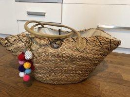 Bolso tipo cesta crema-marrón claro