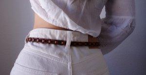 Geflochtener Hippie Boho Hüftgürtel aus Echtleder braun 80 Sommer Festival