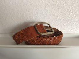 Geflochtener Ledergürtel braun/cognacfarben