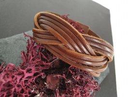 Geflochtenes Armband, Braun, Leder, Spanien Lederarmband