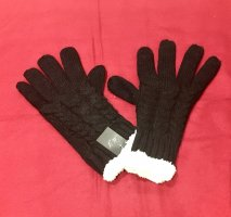 0039 Italy Padded Gloves black-white wool