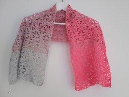Bufanda de ganchillo gris claro-rosa neón tejido mezclado
