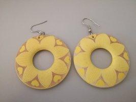 Vintage Orecchino a cerchio giallo-sabbia