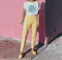 Mango Pantalon en lin jaune primevère