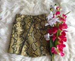 Bershka Faux Leather Skirt yellow-black