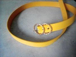 Gelber Gürtel mit vergoldeter runder Gürtelschnalle NEU!!!