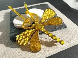 Gelber Schmetterling Brosche Mini Perlen Neu Brooch