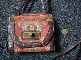 Wallet brown-bright red