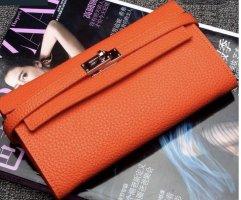 Portefeuille orange cuir
