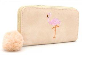 Geldbörse Wallet Portmonee mit Flamingo und Pompon NEU