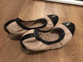 Geox Respira Ballerina di pelle verniciata nero-rosa pallido