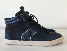 GEOX D New Club A Hi Top Sneaker 37 Blau Suede Leder Sportschuhe Damen wie NEU