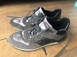 GEOX Respira Sneaker Turnschuhe Veloursleder grau anthrazit Glitzer Gr. 37