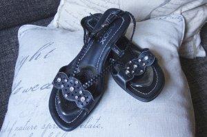 Geox Sandalen schwarz, echtes glattes Leder, Strasssteinchen, Sommersandale luftig, leicht, gute Passform, bequem, kleiner Keil 4 cm, TOP Zustand, Gr.